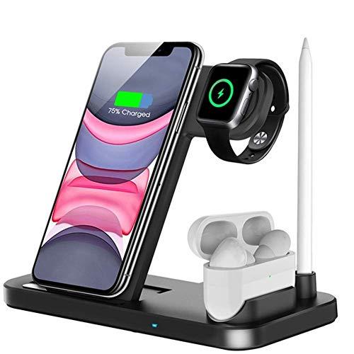 OCLOO 4 en 1 Cargador inalámbrico Qi 10W de Carga rápida Soporte Adecuado for el iPhone 11 X XS XS XR MAX 8 Plus Compatible con Apple Seguir 5 4 3 2 Airpods Pro (Color : Black)