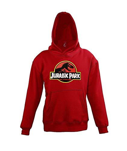 Youth Designs Kinder Hoodie Kapuzenpullover Modell Jurassic T-Rex, Gr. 118/128 (8 Jahre), Rot