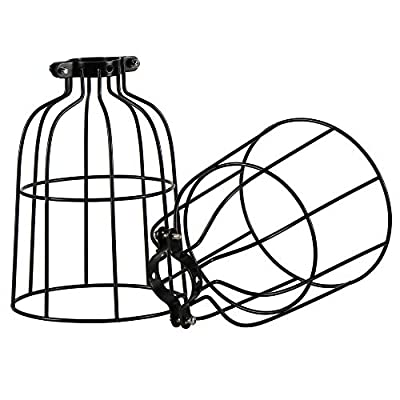 Vintage Industrial Metal Wire Cage, DIY Lamp Shade Replacement Accessories, Upgrade Black, for Hanging Pendant Lighting
