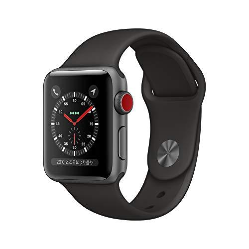 Apple Watch Series 3(GPS + Cellularモデル)- 38mmスペースグレイアルミニウムケースとブラックスポーツバンド