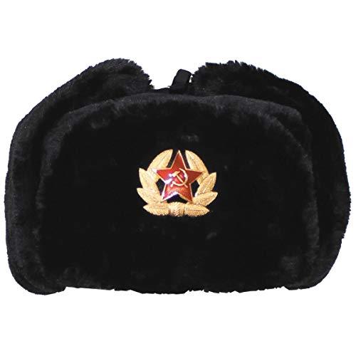 MFH ruso invierno ruso gorra Negro con Placa tamaño M