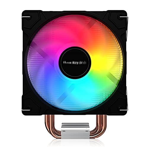 JIAYU Enfriador De CPU, Ventilador De Host, 4 Tubos De Cobre, Enfriador De CPU Multiplataforma Silencioso, Ventilador PMW, Ventilador De 120 Mm (Color : Black, Tamaño : Radiator)