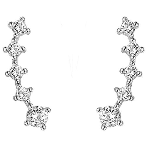 PAVOI Rhodium Plated Sterling Silver Post Climber Arrow Ear Crawler Pearl Earrings Set
