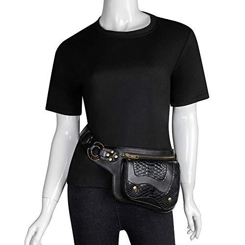 Steampunk - Riñonera de piel con bandolera, bandolera, bandolera, bolso de hombro, bolso gótico, roca, riñonera, bolso de viaje, bolso de pierna para motocicleta para mujeres y hombres (cocodrilo)