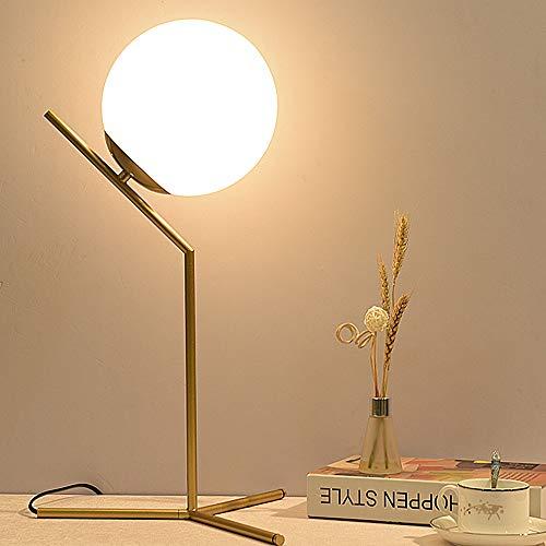 ELINKUME Lampada da tavolo con sfera di vetro, Paralume creativo a luna piena e struttura in metallo color bronzo, E27 minimalista Lampada decorativa da comodino