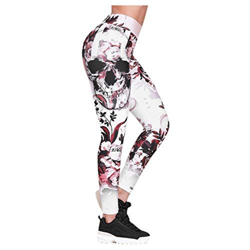 Damen-Leggings, hohe Taille, kaschiert Bäuchlein Hoch taillierte Yogahose mit Totenkopf-Print (3XL,3Rosa)