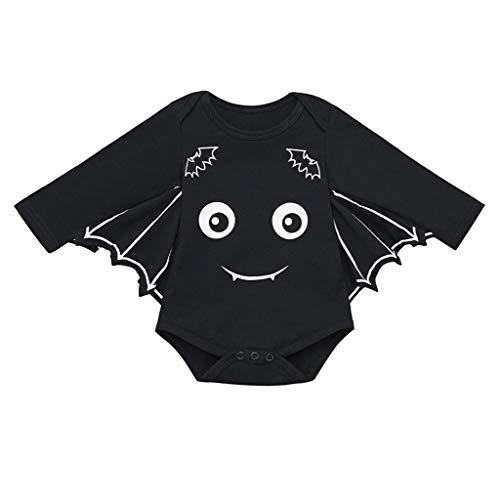 SUMTTER Baby Strampler Neugeborenes Jungen Mädchen Halloween Cosplay Kostüm Fledermaus Ärmel Strampler (Schwarz2, 12-18 Monate / 86)