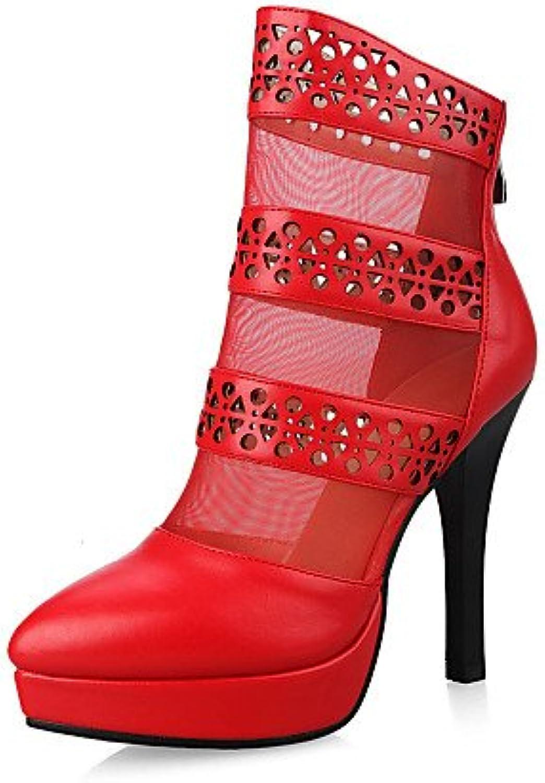 XZZ Damen-Stiefel-Kleid Lässig Party & Festivität-PU-Stöckelabsatz-Absätze Plateau Spitzschuh Modische Stiefel-Schwarz Rot B01KPZS39O  Ein Gleichgewicht zwischen Zähigkeit und Härte