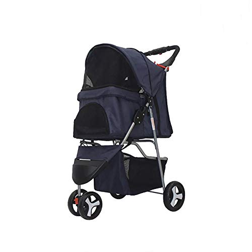 Comft Dog Stroller 3 Wheels Pet Stroller for Small & Medium Dogs and Cats, Foldable Waterproof Carrier Strolling Cart Jogging Stroller with Mesh Window (Dark Blue)