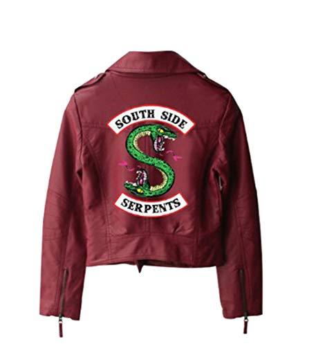 IFITBELT Riverdale Southside Serpents Impreso PU Leather Chaquetas para Mujer, Streetwear Jacket De Cuero Negra