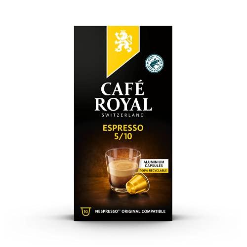 Café Royal Espresso 10 Nespresso®* kompatible Kapseln (aus Aluminium, Intensität 5/10), 1er Pack (1 x 10 Kaffeekapseln)