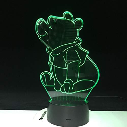 Belle Winnie Led Veilleuse L'Ourson Capteur Décor Ours Lampe 3D Préférée Adolescent Mr Sander Usb Veilleuse Chevet 3D Optique