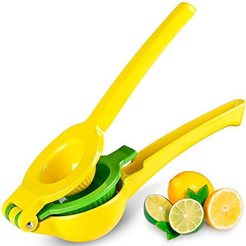 Premium kwaliteit metalen citroen kalk Squeezer, handmatige citruspers sapcentrifuge gemakkelijk te gebruiken schoonmaken keuken gereedschap - geel
