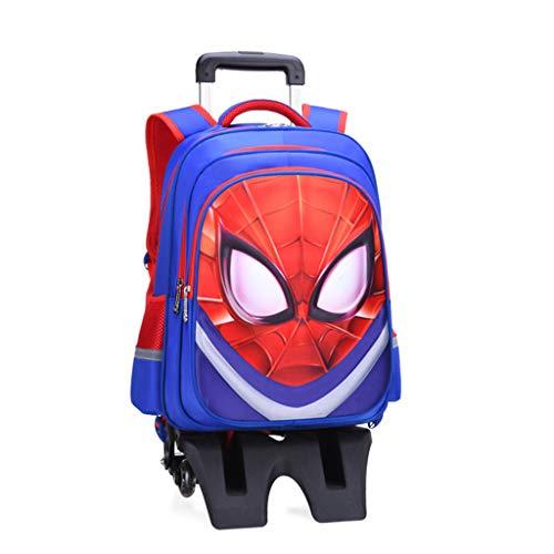 YeMao Bambini Ragazzi Superhero Impermeabile Trolley Schoolbag, 6 Ruote Salire Le Scale Staccabile Zaino Bookbag Bagaglio a Mano,C-32 * 17 * 45CM