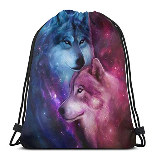 Drawstring Bags Colorful Wolf Storage Laundry Bags Pouch Bag Drawstring Backpack Bag Washable Dust-Proof Breathable Non-Transparent Travel Sport Gym Sackpack For Men Women