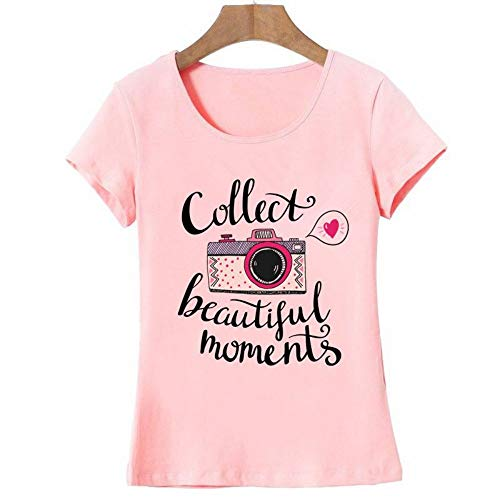 XIAOBAOZITXU Vogue Letter Camera Gedrukt T Shirt Vrouwen Zomer Tops Tees Korte mouw Mode Ronde hals Tshirt (roze)
