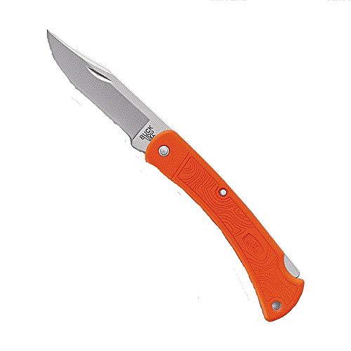 Buck Taschenmesser 110LT, Stahl 420HC, Back Lock, limitiert, orangefarbene glasfaserverstärkte Nylonschalen, Metallbox
