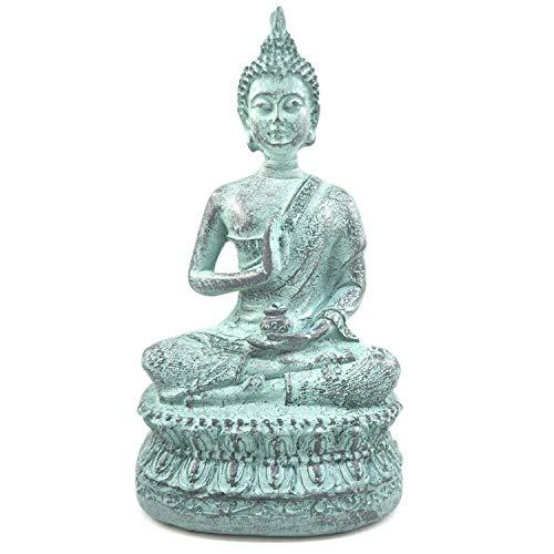 Ornerx Thai Sitting Buddha Statue for Home Decor Turquoise 6.7'