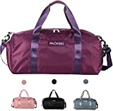 Sports Gym Bag, Large Capacity Waterproof Sports Duffel Bag with Shoe Compartment and Wet Pocket , Lightweight Men Women Gym Bag Holdall bag , Perfect for Camping, Travel, Swimming, Hiking.(purple)