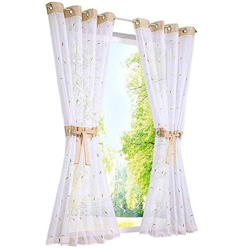 ESLIR Cortinas con ojales transparentes para salón, cortina moderna bordada de voile arena ancho x alto 140 x 145 cm 1 pieza