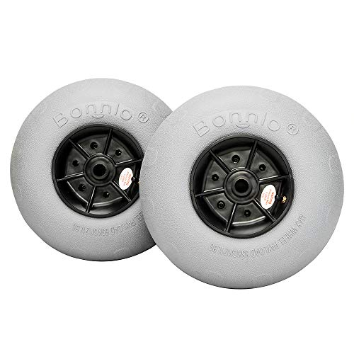 Bonnlo Beach Wheels Upgrade 12' Replacement Balloon Sand Tires for Kayak Dolly Canoe Beach Cart Wagon Buggy with Free Air Pump 2 Pack (12')