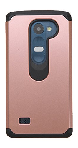 Asmyna Cell Phone Case for LG C40 (Leon)/Tribute Duo/RISIO - Retail Packaging - Black/Rose Gold