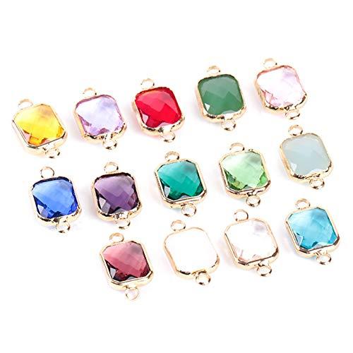 WESET Cuentas de Cristal cuadradas de Cristal Oro Anillos Dobles Colgante para Collar Encanto Pulseras de brazaletes de bisutería