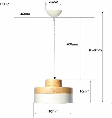 Cden Chandelier Home Decoration Ceiling Lamp Indoor lumière Retro Industry Antique Metal Chandelier, Chandelier Lamp E27 with bois (Round blanc, noir) [Energy Class a +],blanc