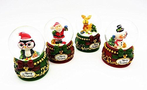 Geschenkestadl 4 süsse Schneekugeln Merry Christmas Ø 5 cm Pinguin Schneemann Weihnachtsmann Elch Weihnachten