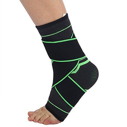 Fußbandage sprunggelenk Knöchelbandage sprunggelenkbandage,1 Paar Nylon Unisex Komfortable Übung Sport 3D Weben Knöchel Kompressions Brace Wrap Support für Sport, Fußball, Gelenkschmerzen(L)