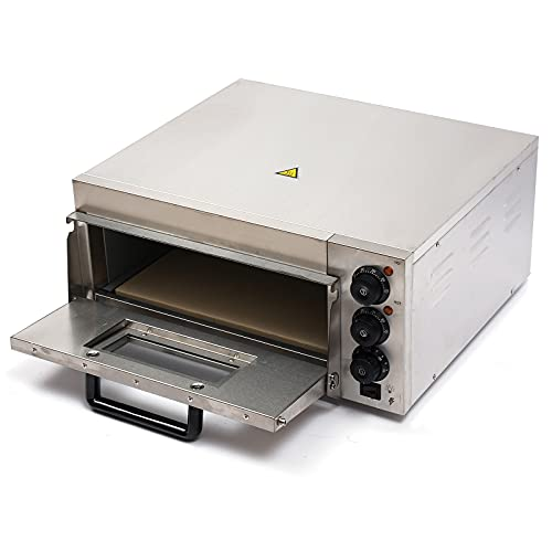 Commercial Pizza Oven Single Deck Stainless Steel Countertop Electric Pizza Oven Cooker,Baking Euipment Pizza Maker Toaster Multipurpose Oven for Home Restaurant Pizza Shop,10-12 Inch 110V 2000W
