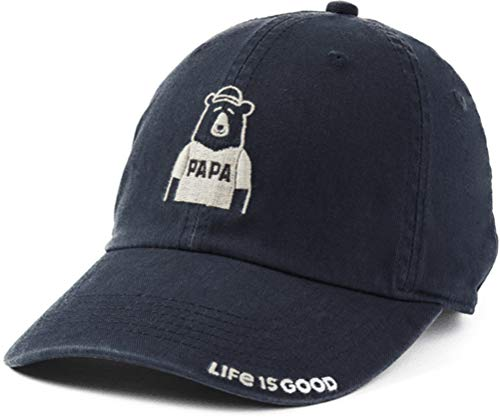 Life is Good Chill Cap Embroidered Brim Baseball Hat, Papa Jet Black, One Size