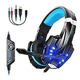 Profesionales Auriculares Gaming PS4 con Micrófono,Reducción de Ruido, Sonido Envolvente Compatible con PS4/PC/Mac/inteligente phone/Xbox One/Nintendo Switch