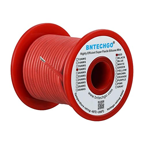 BNTECHGO 18 Gauge Silicone wire spool 100 ft Red Flexible 18 AWG Stranded Tinned Copper Wire