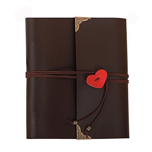 Guwheat Handmade DIY Scrapbook, Retro Family Anniversary Adhesive Photo Album/Wedding Photo book (9.65X8.46 inch, Black)