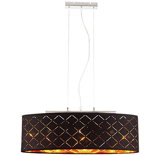 Decken Pendel Leuchte Wohn Zimmer Beleuchtung Textil Hänge Lampe schwarz gold Globo 15229H2