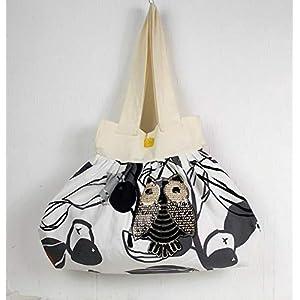 genähte Handtasche in grauweiß beige mit Pailletten Motiv Eule, Shopper