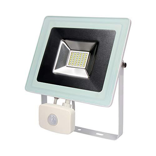 Multifunctionele led-projector, SMD IP44, 220 – 240 V, 30 W, 6.400 K, koel licht, 2100 lumen, met bewegingsmelder EDM