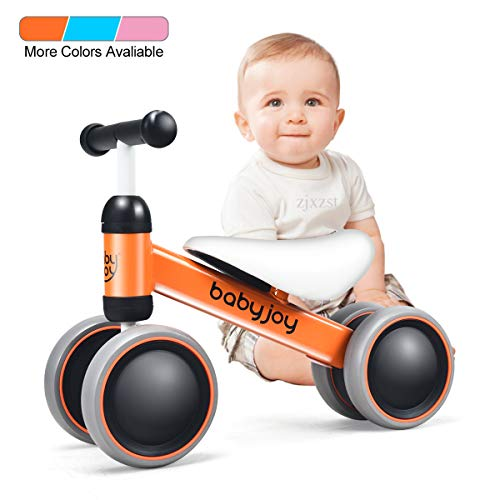 Baby Joy Baby Balance Bikes, Baby Bicycle, Children Walker Toddler Baby Ride Toys for 9-24 Months, Ride-on Toys Gifts Indoor Outdoor for 1 Year Old, No Pedal Infant 4 Wheels Bike (Orange)