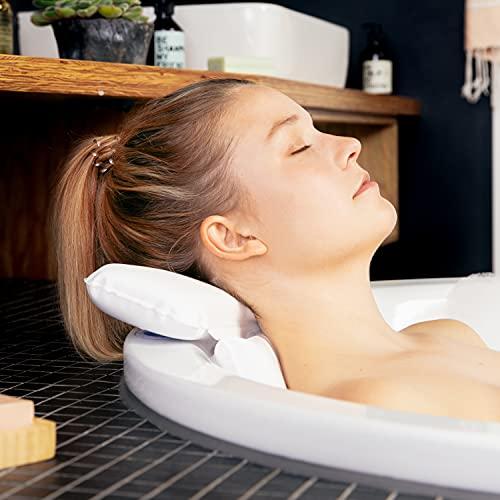 TranquilBeauty Almohadas de baño para la cabeza y el cuello con ventosas, impermeables, antideslizantes, cojín de baño premium, reposacabezas ergonómico y respaldo con caja de regalo blanco