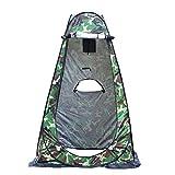 LINGS - Tienda de campaña plegable para inodoro, portátil para vestirse al aire libre, refugio de lluvia para camping y playa, ligero y resistente, fácil de configurar (camuflaje)