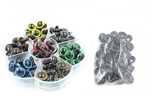 1 Box 10mm Plastic Multicoloured Safety Eyes Kit with Washers for DIY Sewing Crafting Buttons for Puppet Bear Doll Animal Stuffed Toys (10mm, Flower Shape Box (70pcs))