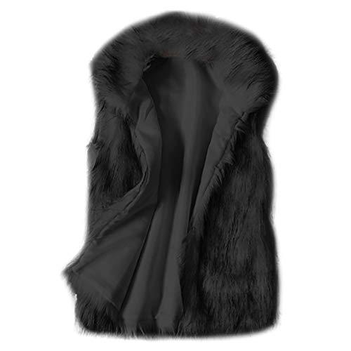 Lulupi Damen Faux Fur Weste Mantel Ärmellos Fellweste Winterjacke Pelzweste Bodywarmer Elegant Frauen Kunstpelz Jacke Pelzmantel