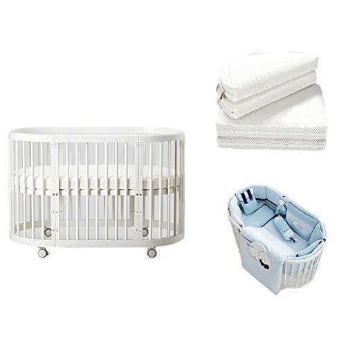Houten Baby-bed om te bouwen tot 3 posities ledikant Europese Multifunctionele Kleine Ronde bed Kinderbed slaapbank for Cribs tot 6 jaar (met matras en beddengoed)