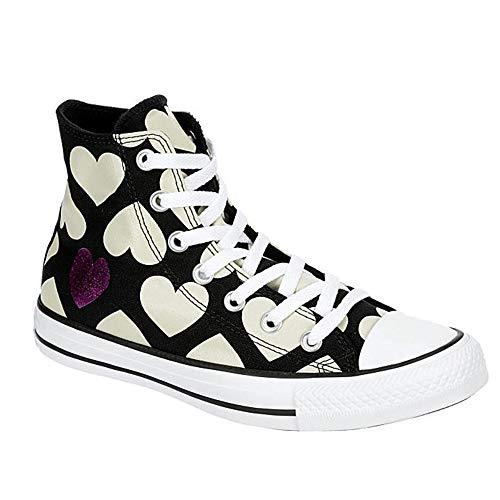 """Converse - Sneaker alte da donna Chuck Taylor All Star con logo, nero (Nero/Naturale/Avorio/Bianco """"Cuori""""), 36.5 EU"""