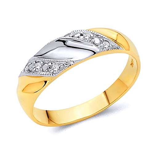 14k REAL Two Tone Gold SOLID Men's Wedding Band - Size 10 14k Gents Wedding Band