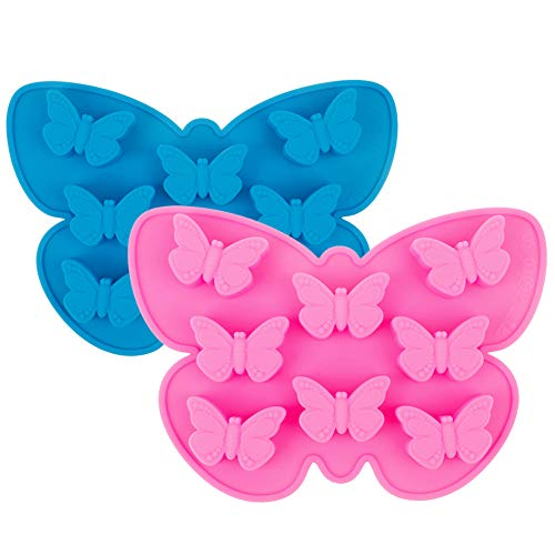 2 Pack Food Grade Silicone Butterfly Mold Non-Stick Chocolate Candy Jelly Mold 8 Cavity Cake Baking Mold Ice Cube Tray for Birthday,Wedding,Party and DIY Crafts (Pink+Blue)