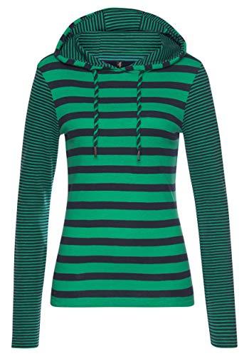 TrendiMax Damen Kapuzenpullover Sweatshirts Gestreift Hoodie Pulli Langarm Pullover 100% Baumwolle (Grün, M)