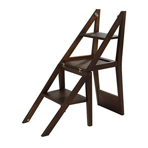 Barstoel eetkamerstoel trapladder vouwbare multifunctionele ladder stoel van hout bibiliotheek plankladder 3 treden 100 kg capaciteit (bruin) Folding stappen