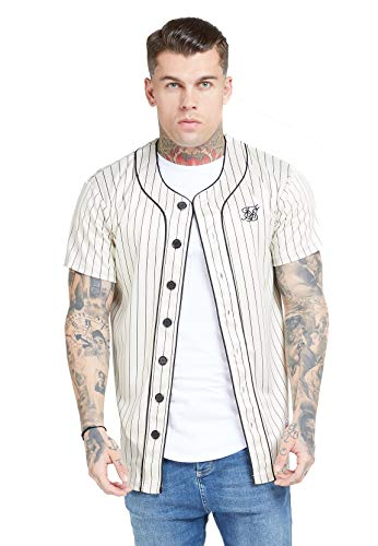 Sik Silk Siksilk camiseta del estilo del diseñador de American Retro Baseball Jersey Gran para Hombre XS Blanco, Blanco